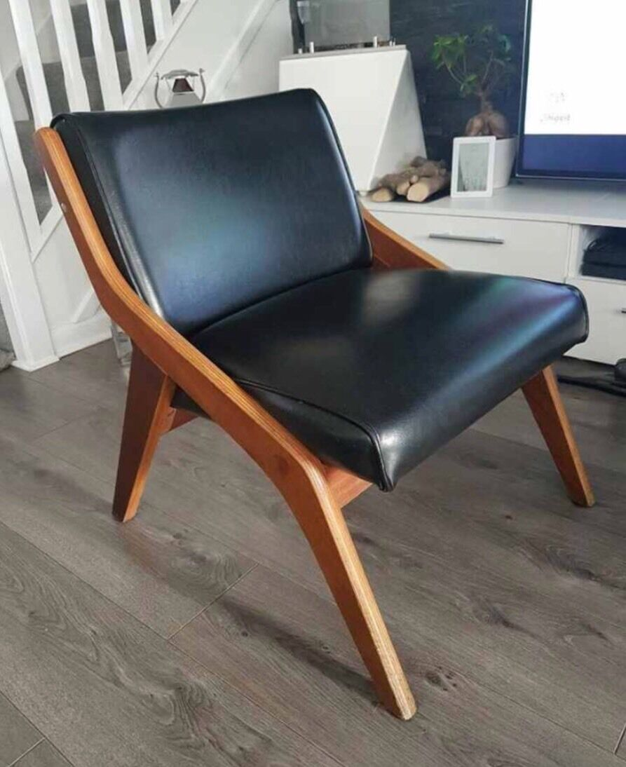 Mid Century Morris Of Glasgow Black Vinyl Wood Arm Chair
