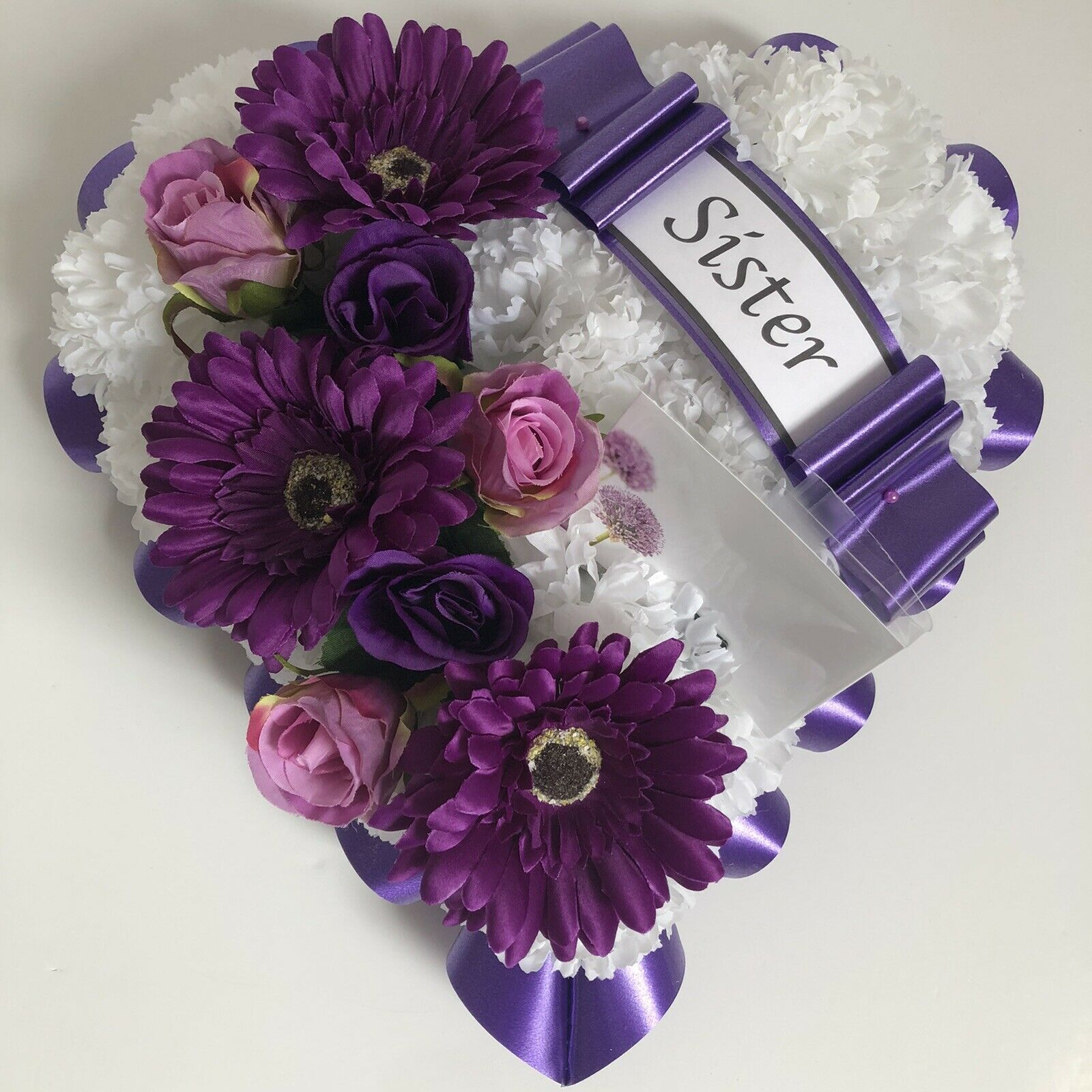 Heart shaped silk artificial funeral flowers wreathmemorialgrave 1 of 4 see more izmirmasajfo