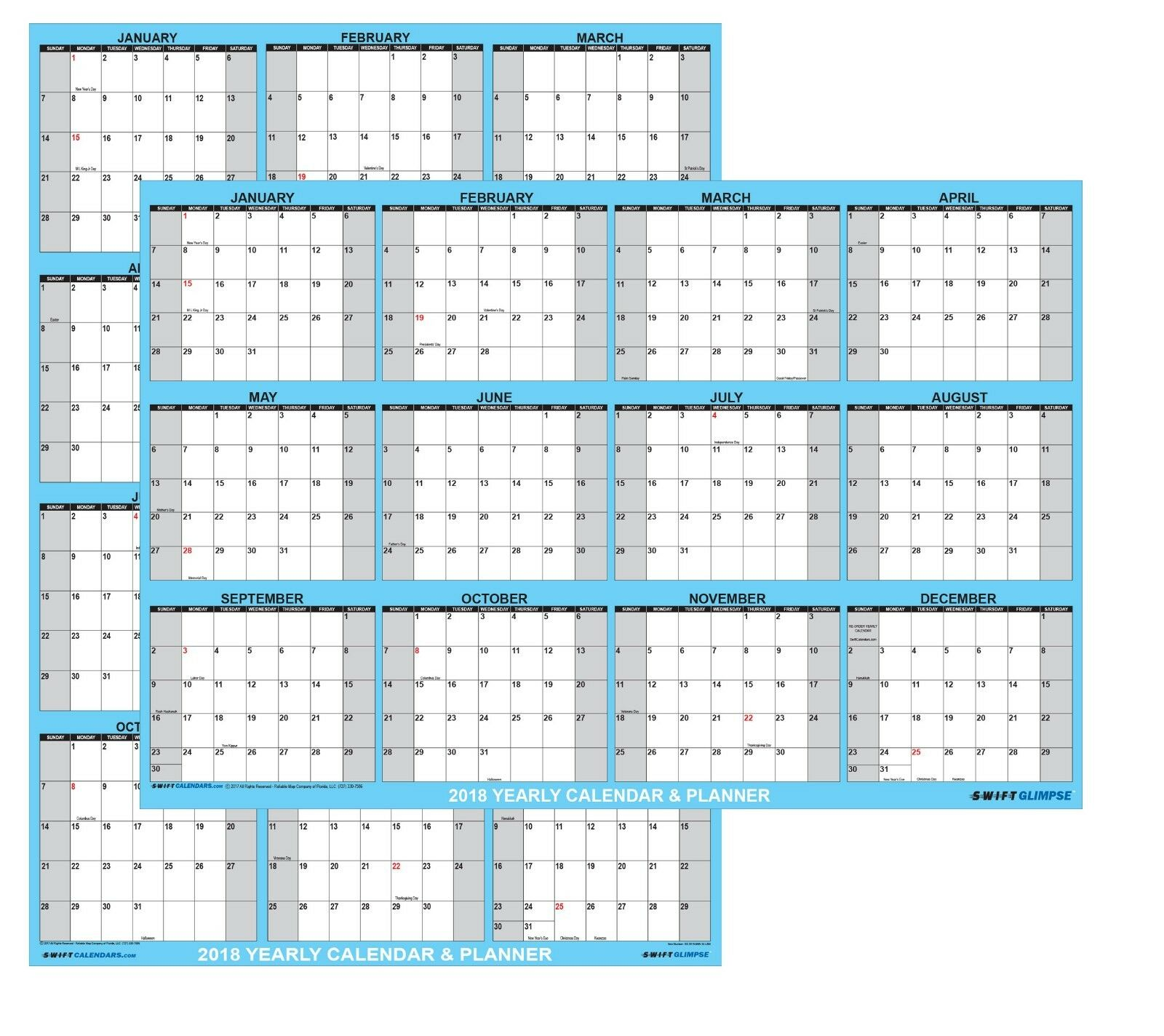 2018 yearly wall calendar large 24x36 dry wet erase laminated
