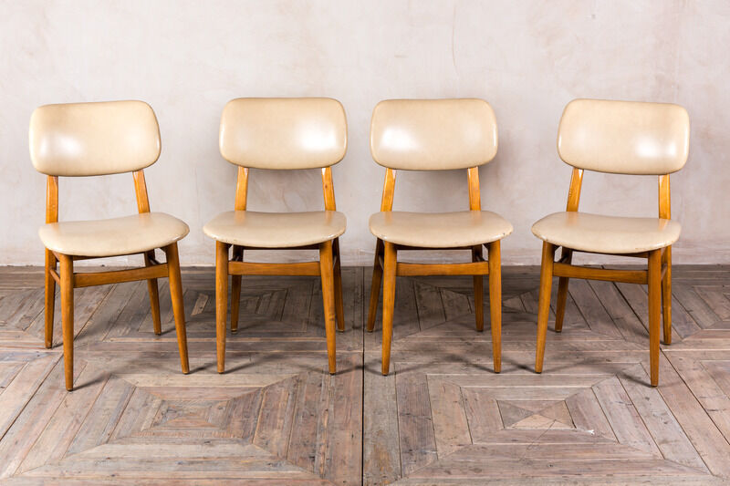 Cream white vintage leather look upholstered cafe dining for White wood upholstered dining chairs