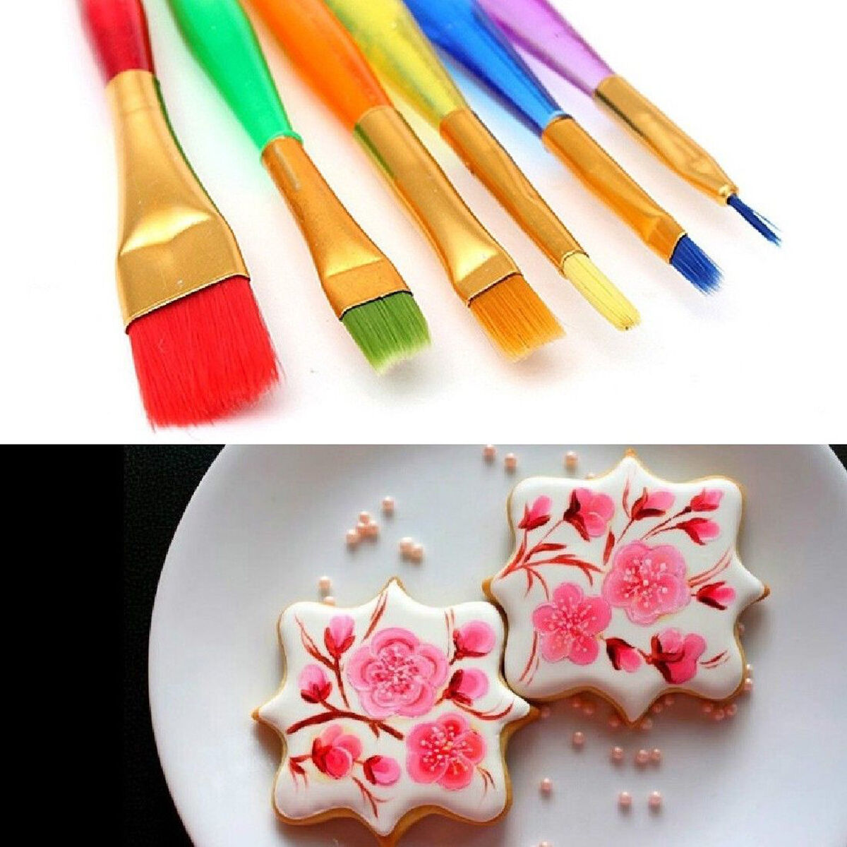 Cake Decorating Painting Icing : NT 6X Cake Icing Decorating Painting Brush Fondant Dusting ...