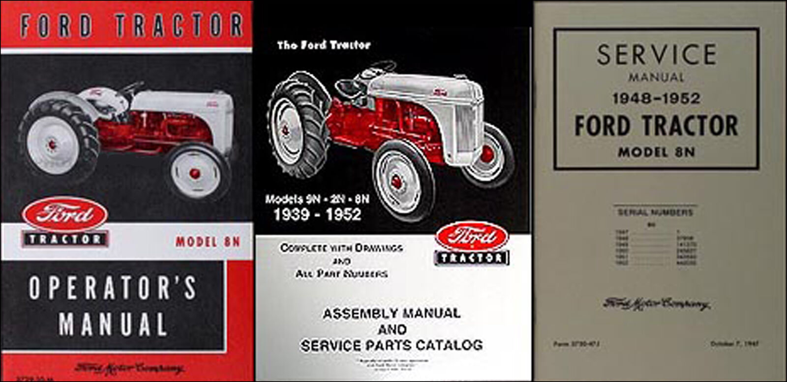 ford 8n tractor 3 manual set owners repair assembly books 1948 1949 rh picclick com ford 8n owners manual ford 8n shop manual