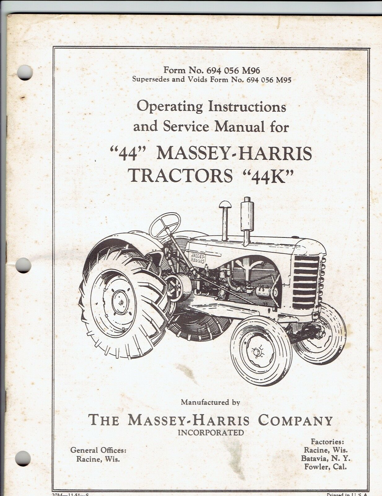Massey Harris Operating Instructions & Service Manual for 44 & 44K Tractors  1 of 1 See More