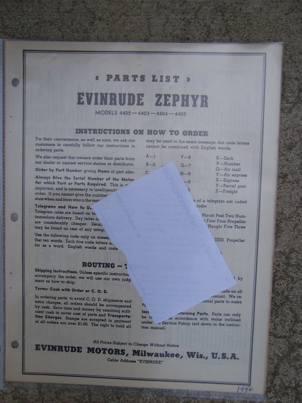 1946 Evinrude Zephyr Outboard Parts List 4402 4403 4404 4405 MORE IN STORE  L 1 of 1Only 1 available ...