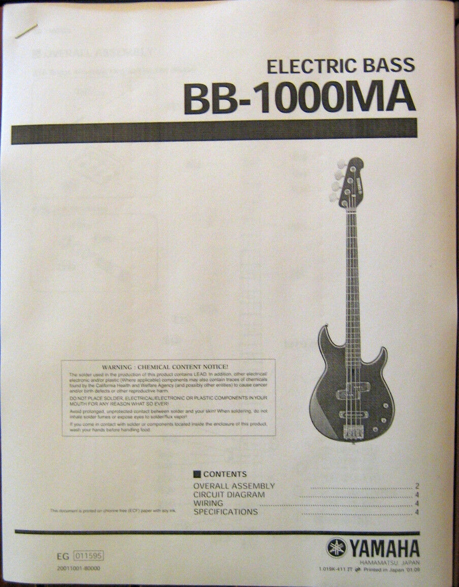 Electric Bass Parts List Fender Guitar Manual Wiring Diagram Schematics All About Yamaha Ma Service And Booklet Of Only Available See
