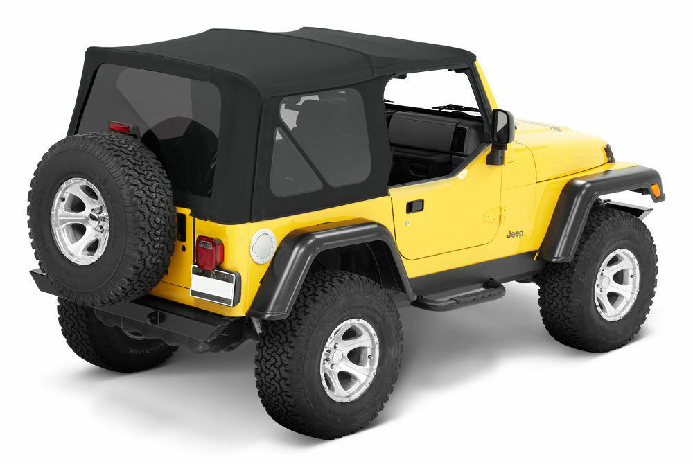 97 06 jeep wrangler soft top and tinted rear windows replacement kit in black picclick. Black Bedroom Furniture Sets. Home Design Ideas