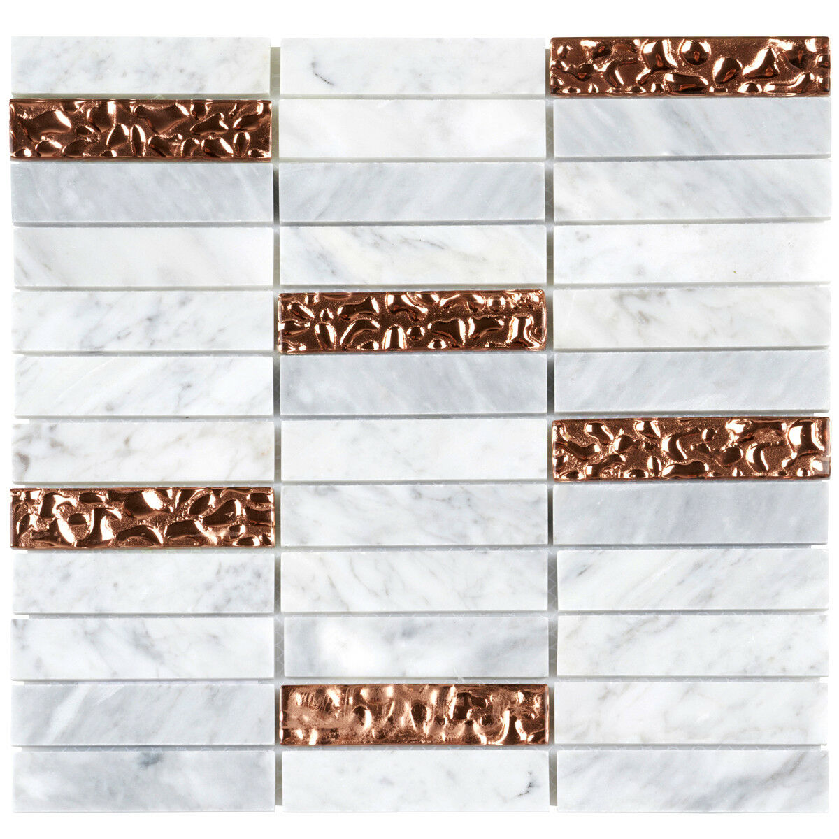 WHITE CARRARA MARBLE Stone Rose Gold Glass Mosaic Tile Stacked - 4x4 white tile with gold specks