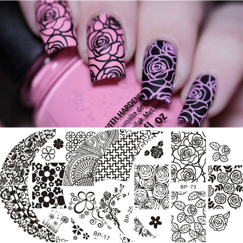 Born Pretty Nail Art Stamping Plates Lace Rose Flower Queen Nail