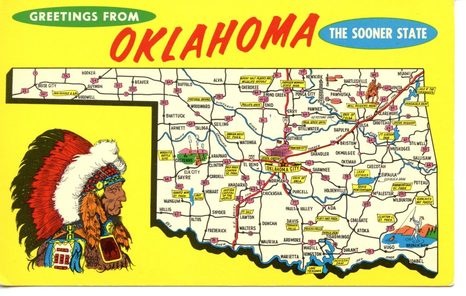 Greetings From Oklahoma Sooner State Map Cities Tourist Sites