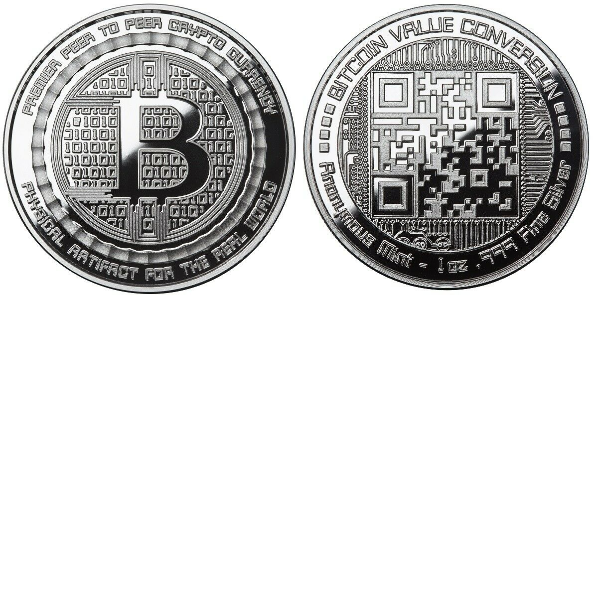 Bitcoin Proof 1 Oz 999 Silver Bitcoin Qr Code Value