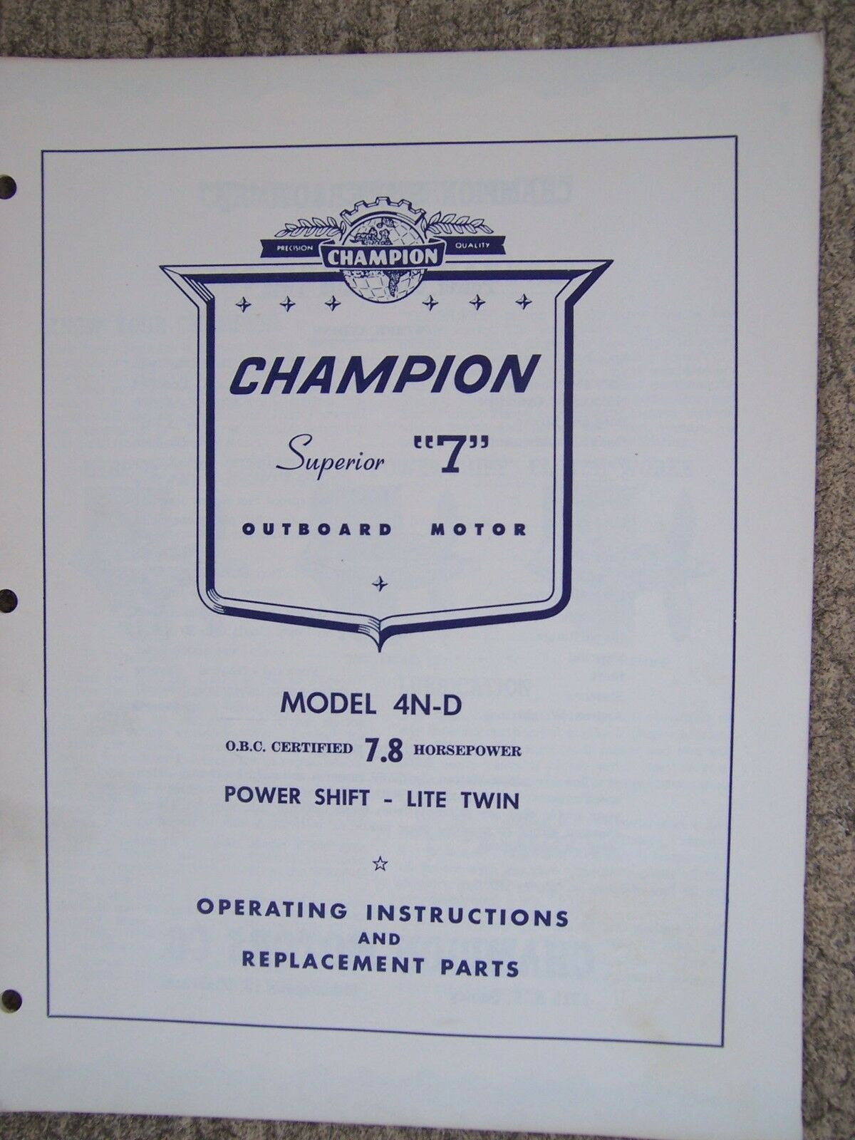Champion Superior 7 Outboard 4N-D 7.8 HP Lite Twin Operation & Parts Manual  U 1 of 1Only 1 available ...