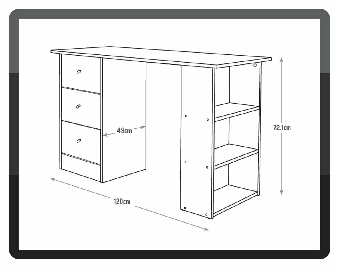 505253b44afd Argos Home Malibu 3 Drawer Desk - Grey 1 of 7Only 5 available ...