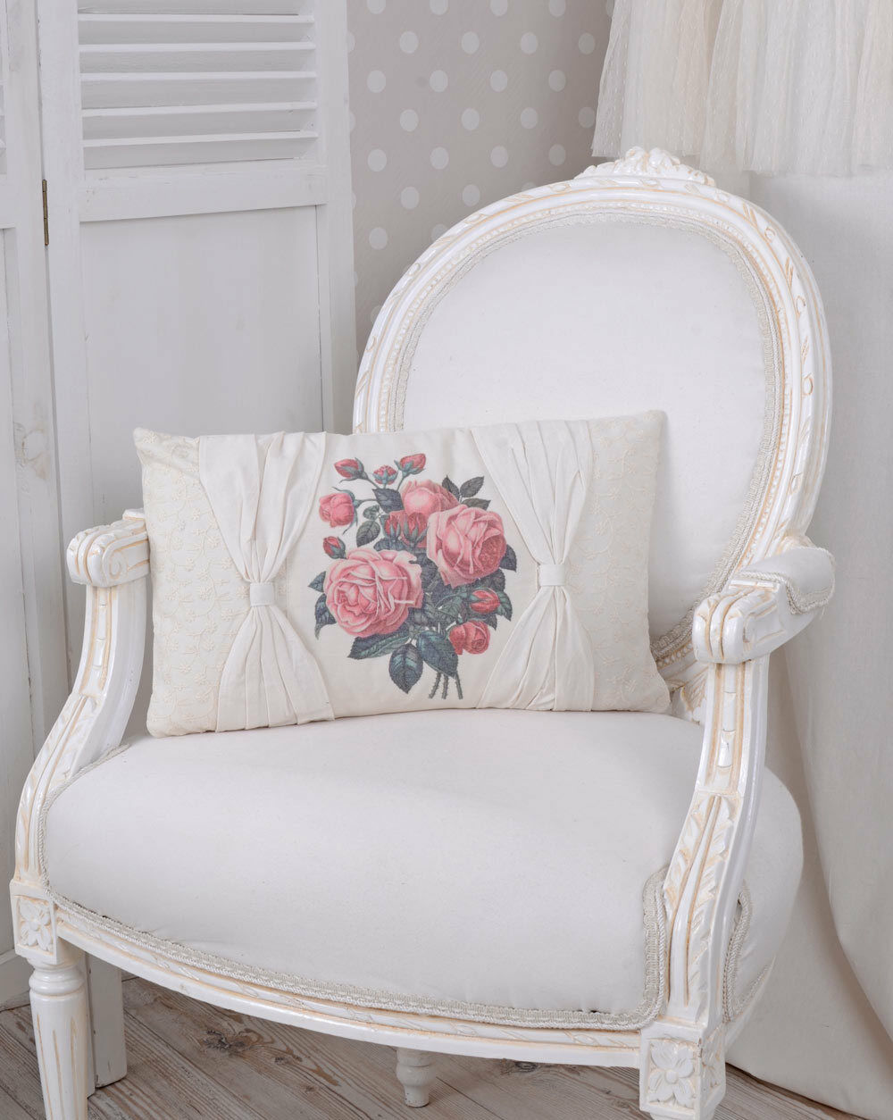 zierkissen weiss kissen shabby chic rosen sofakissen mit. Black Bedroom Furniture Sets. Home Design Ideas