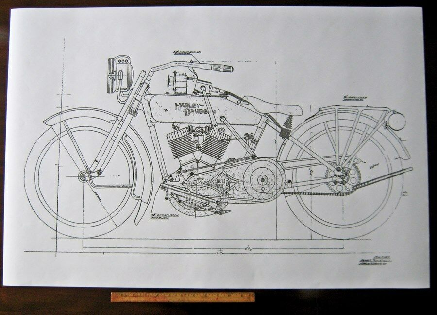 harley davidson early j military motorcycle engine diagram blueprint rh picclick com