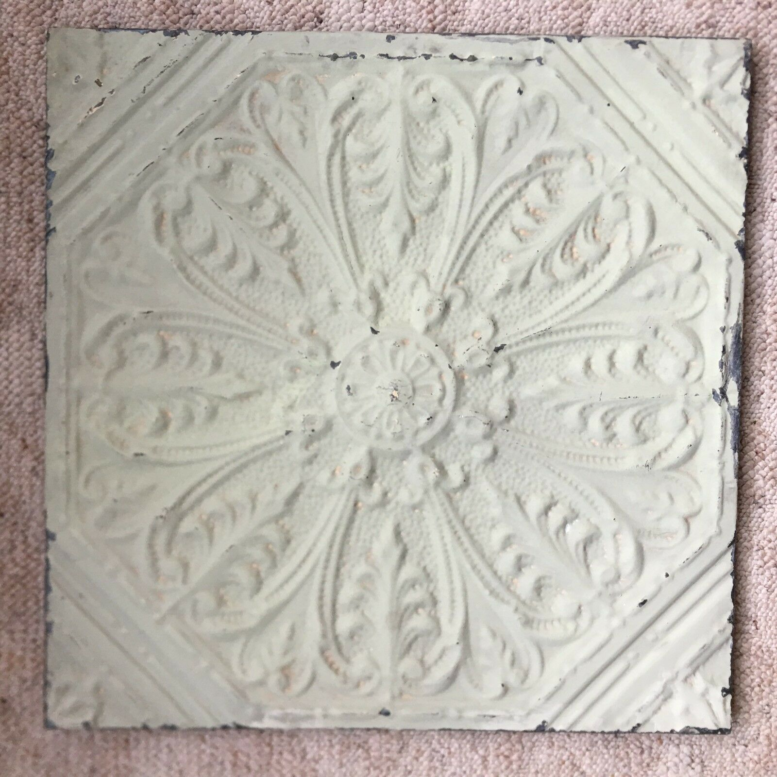1890s 23 X 23 Antique Tin Ceiling Tile Sage Green Wrapped Wall Art