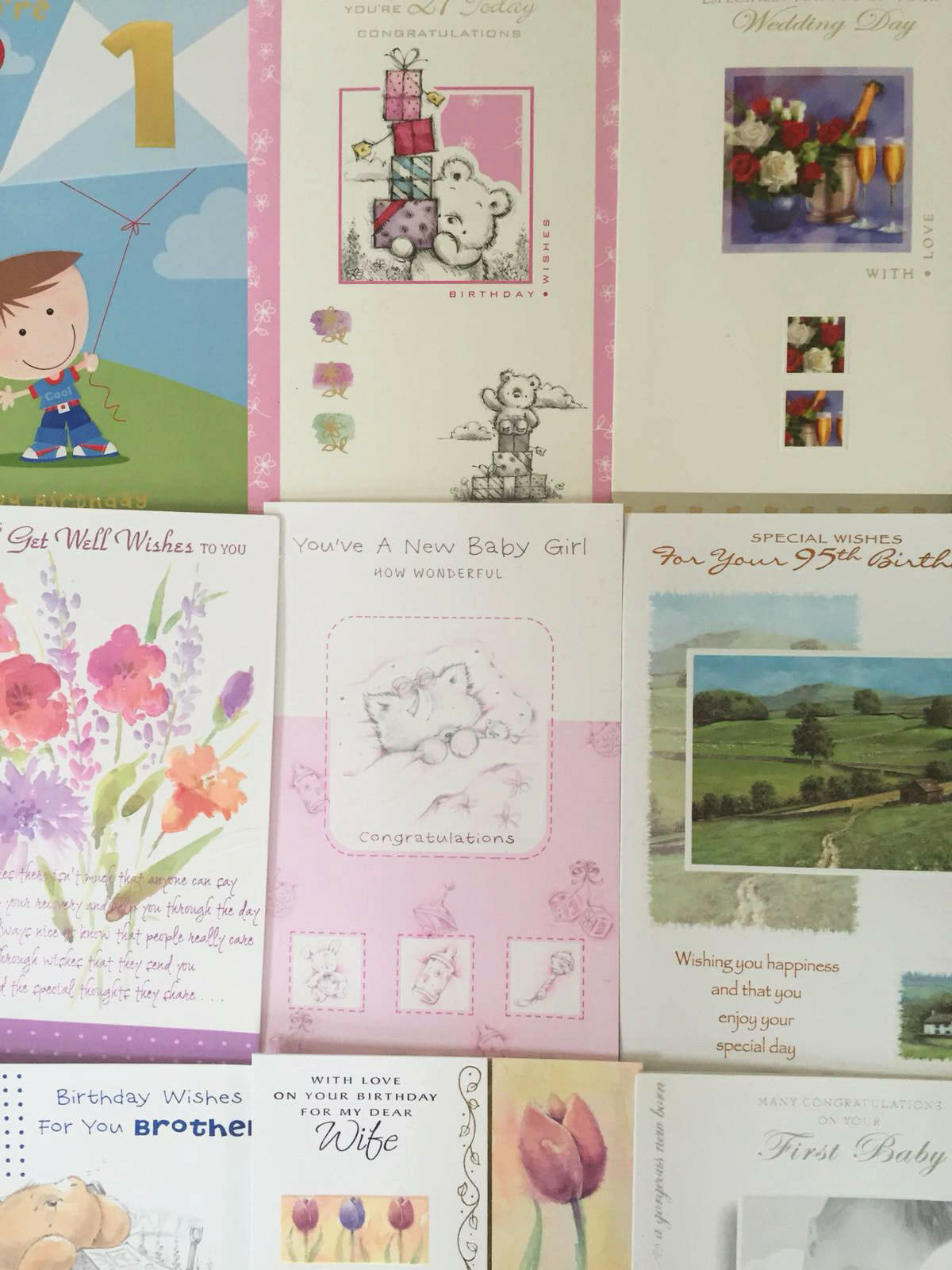 50 Greeting Cards Bargain Wholesale Job Lot Of Assorted Designs No