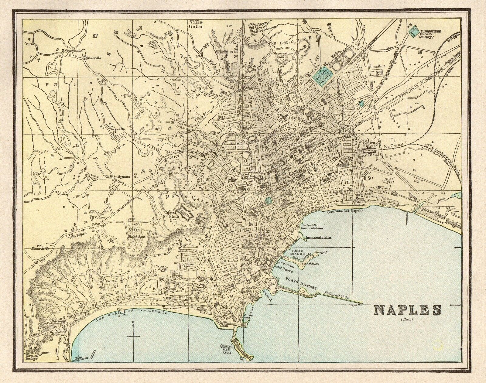 ANTIQUE NAPLES ITALY MAP 1900 Vintage Collectible Map Of Naples ...