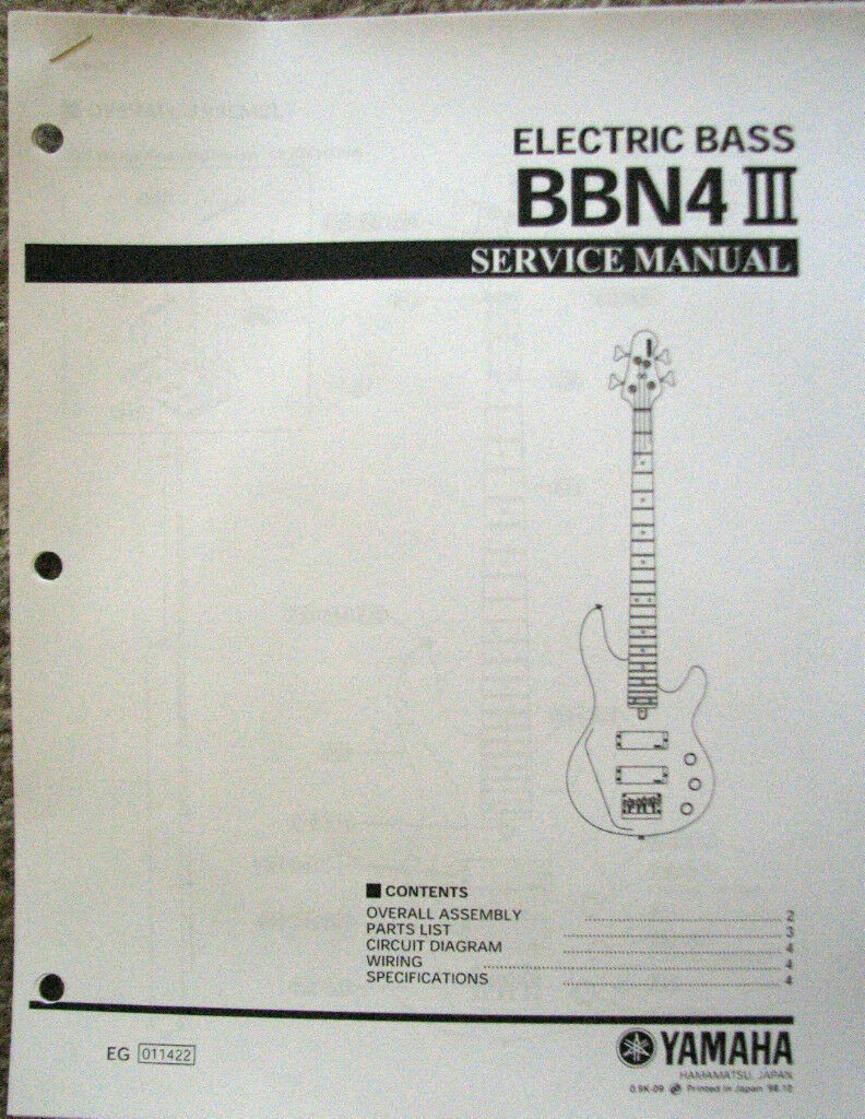 Yamaha Bbn4 Iii Bass Guitar Service Manual And Parts List Booklet Electric Wiring Schematic 1 Of 1only Available