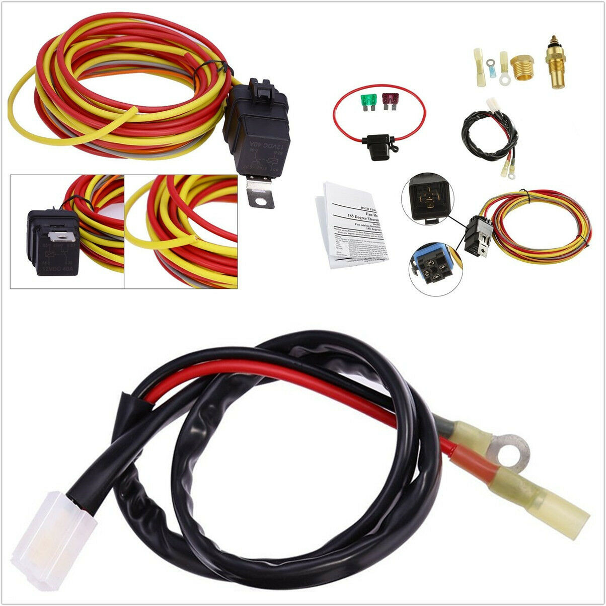 Universal Car Autos Single Control Electric Cooling Fan Wiring Harness For 40a Relay 1 Of 12free Shipping