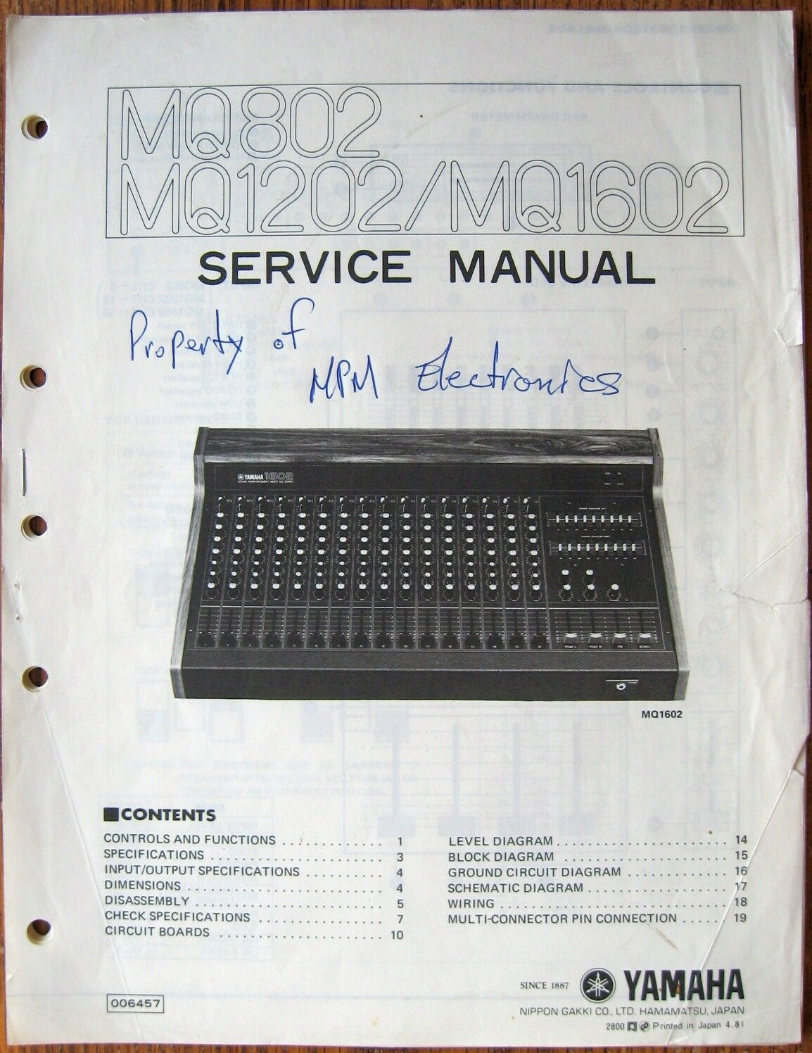 YAMAHA MQ802 MQ1202 MQ1602 Mixer Original Service Manual, Schematics ...