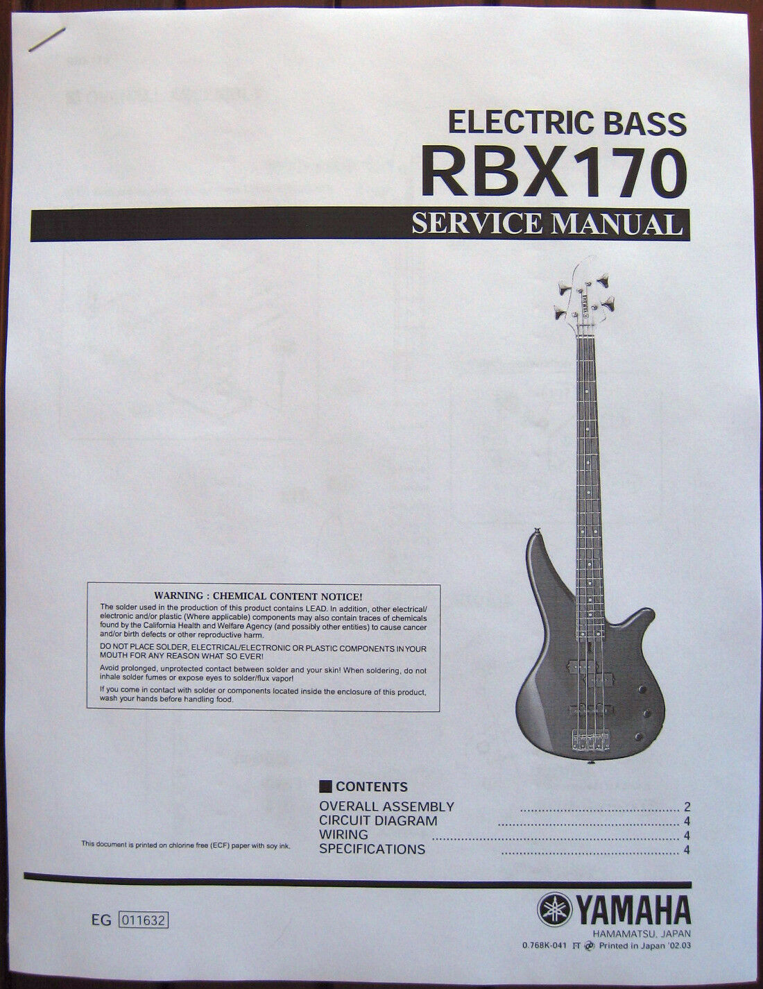 Yamaha Rbx170 Electric Bass Guitar Service Manual And Parts List Fender Wiring Diagram Schematics All About Booklet 1 Of 1only Available
