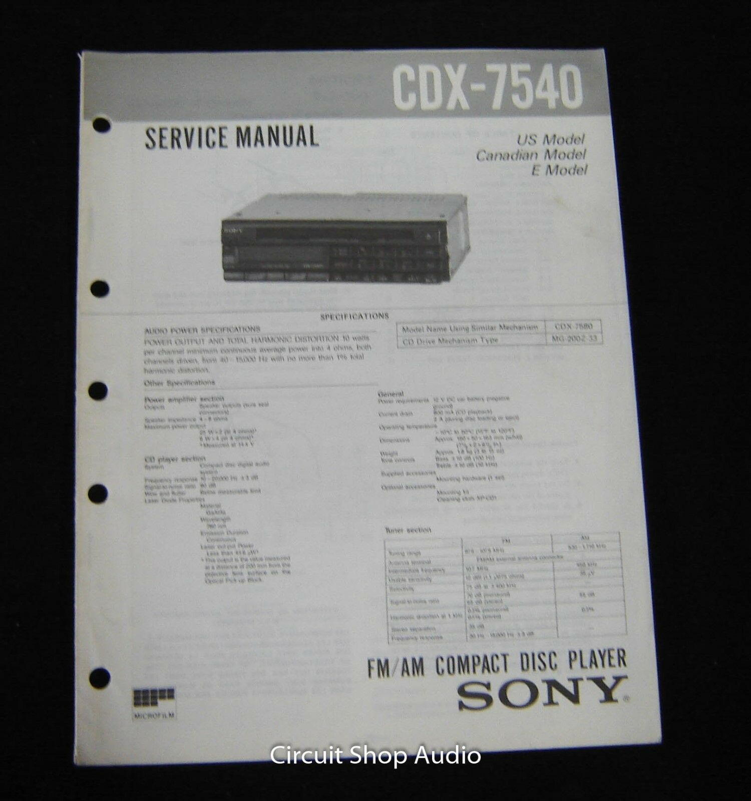 Original Sony CDX-7540 FM/AM CD Player Service Manual 1 of 1Only 1  available See More