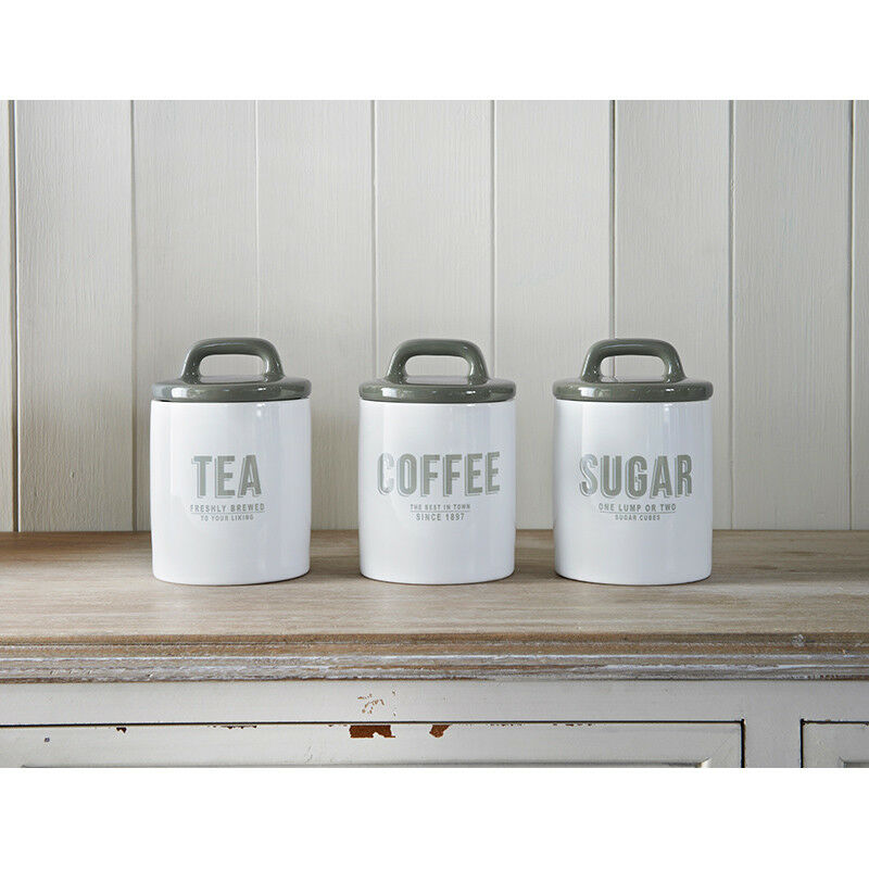 Vintage Retro Style White Ceramic Tea Coffee Sugar Canisters Storage Jars Set 1 Of 1only Available See More