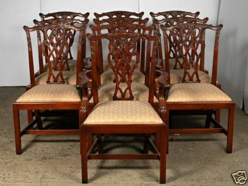 10 Mahogany English Chippendale Chairs > Chair Chippend