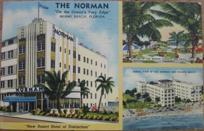1950 Art Deco Linen The Norman Hotel Miami Beach Fl 1 Of 1only Available See More