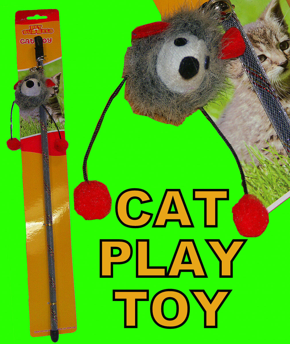 Cat Kitten Pet Play Toy Teasing Fluffy Animal Ball Stick Playful Toy Bell Fun
