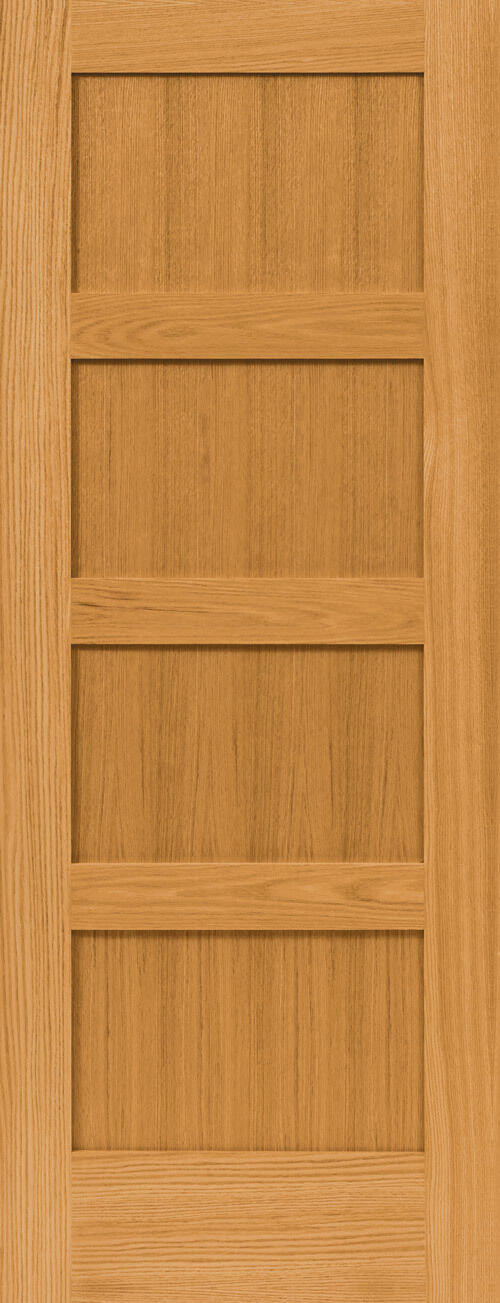 4 Panel Flat Mission Shaker Red Oak Stain Grade Solid Core
