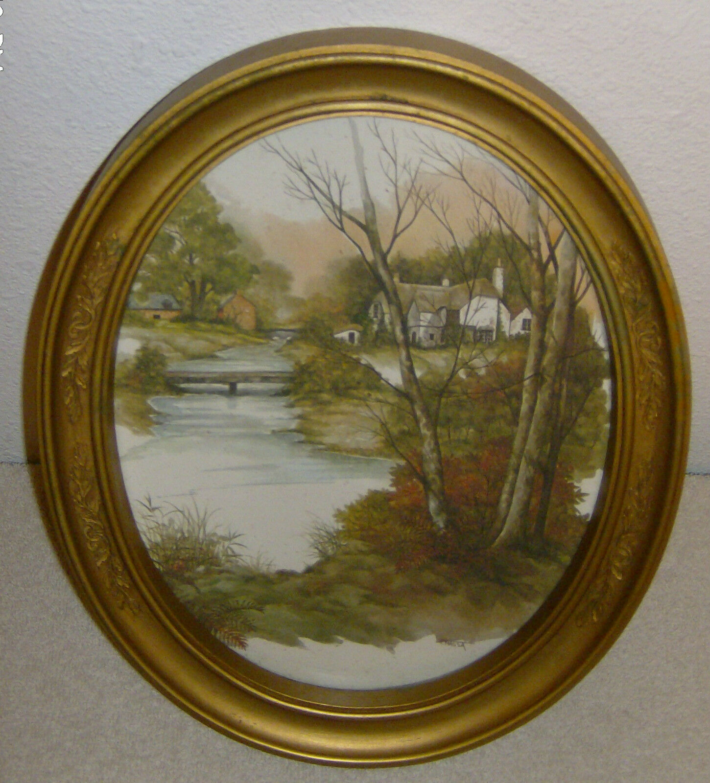 Homco Home Interior Picture Gold Oval Frame House Lake Water Vintage ...