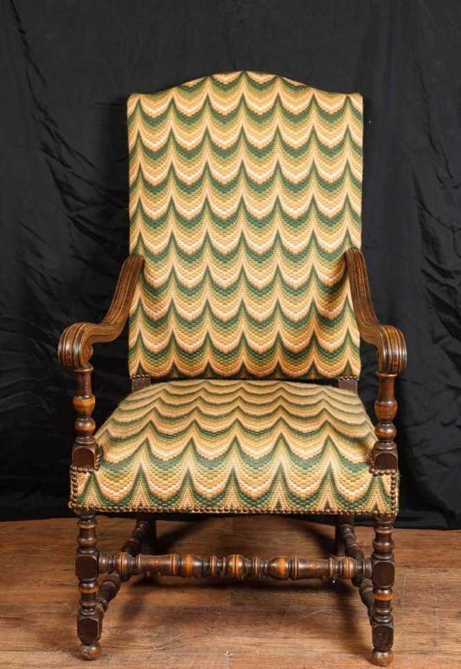 Antique French Walnut Arm Chair Fauteil Chairs 1920 Woven Fabric