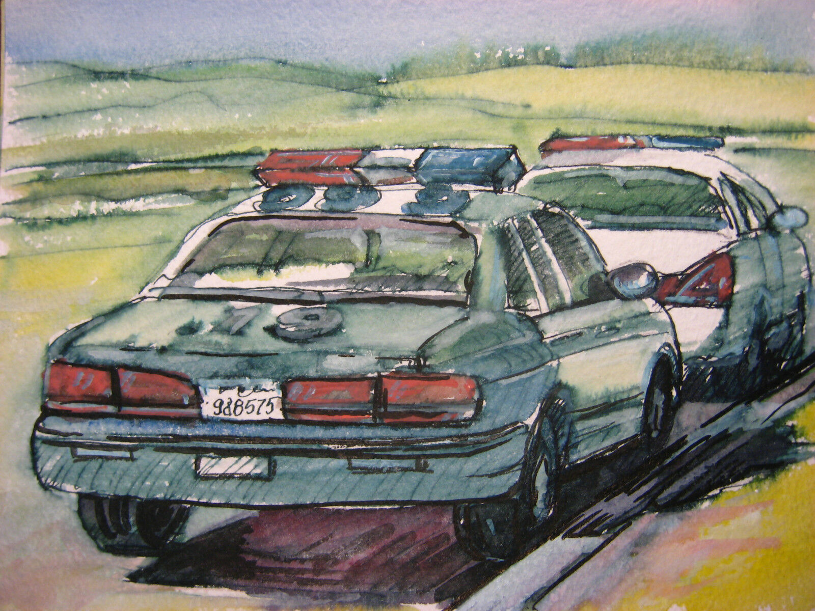 """ORIG ART AMERICAN POLICE CAR FORD CROWN VICTORIA FLASH LIGHTS 5,5""""x7,5"""" INCHES"""