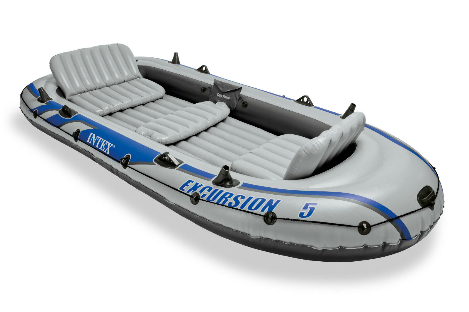 New intex excursion 5 inflatable boat set raft dinghy with for Inflatable fishing boats
