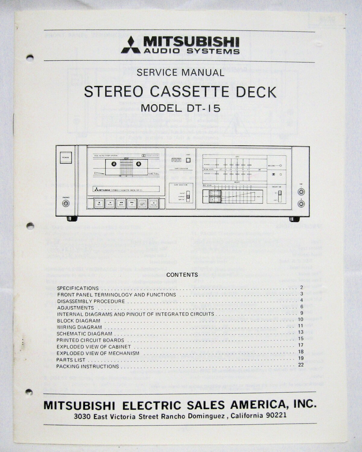Mitsubishi Service Manual Car Minicab U62t Wiring Diagram Dt 15 Cassette Deck Original 8 75
