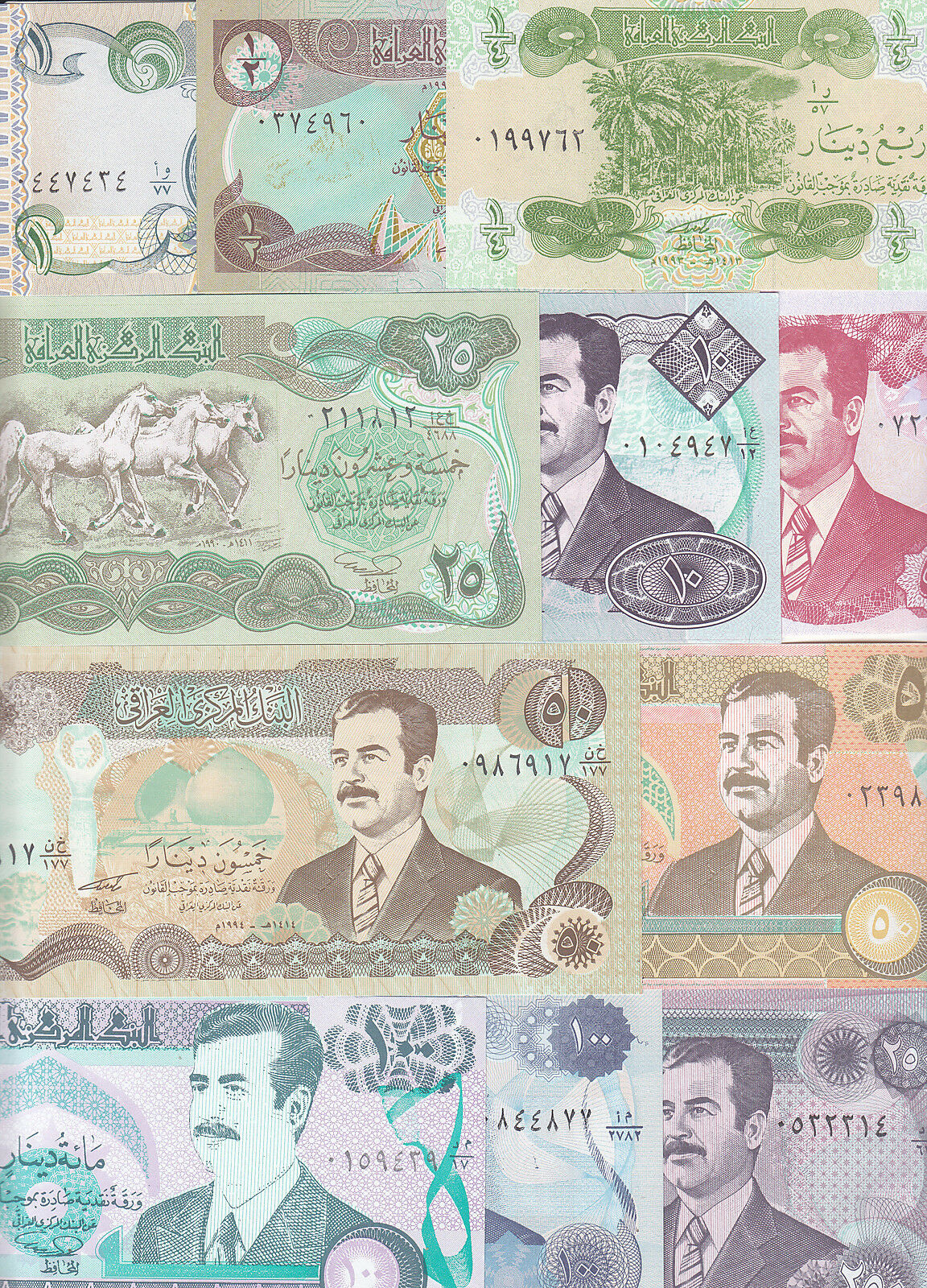 SCARCE IRAK UNC NOTES: 1//4 /& 50 Dinars 25 10 BEST /'s Offer... 1//2 1