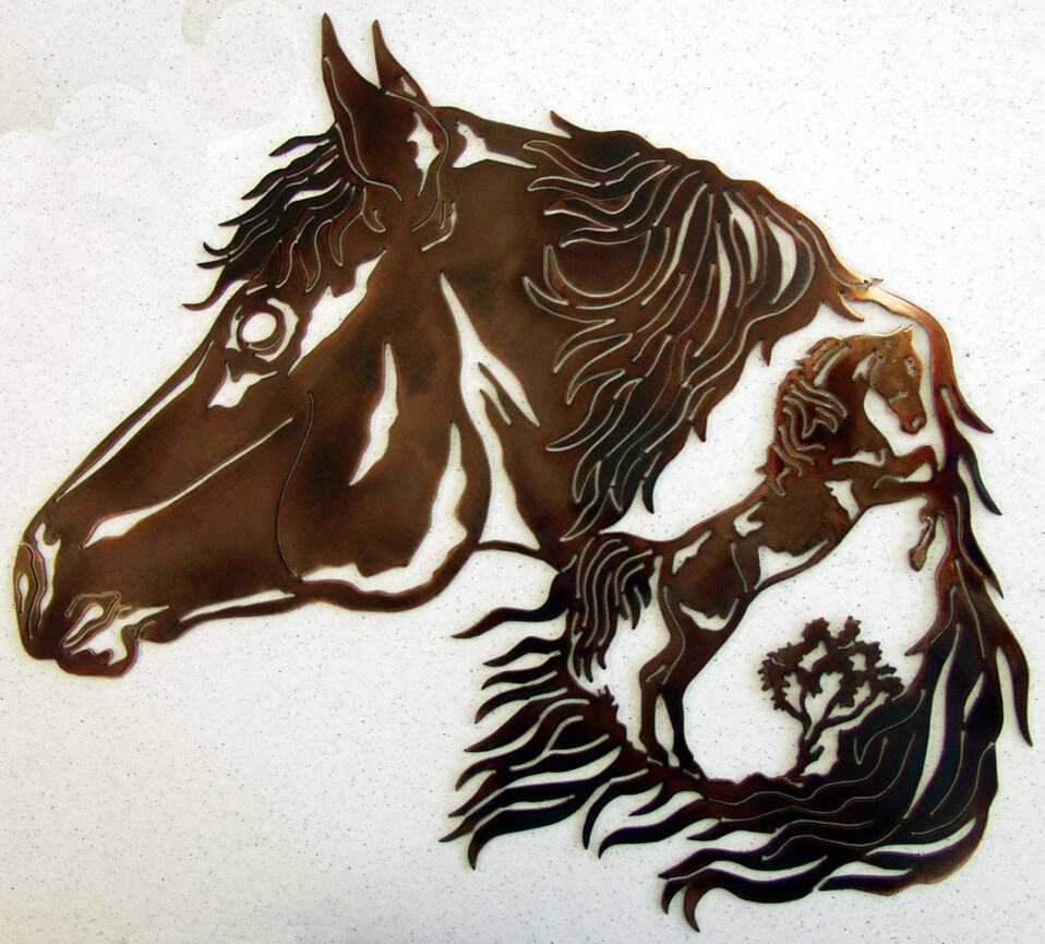 Western Wall Decor Metal : Horse stallion western metal art rodeo ranch home rustic