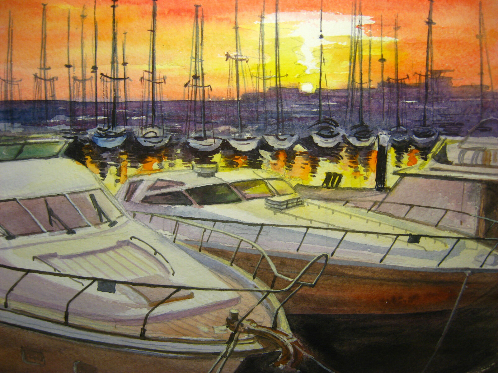 Colorful Painting Seascape Sunset Sea Sailboat Ocean White Yacht Boat Pier 8x11