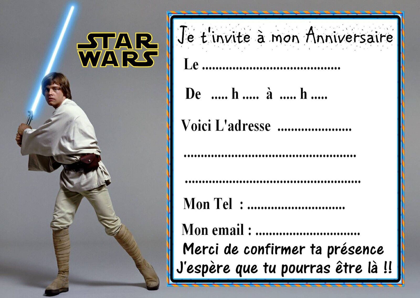 carte d invitation anniversaire star wars a imprimer sandrine b langer. Black Bedroom Furniture Sets. Home Design Ideas