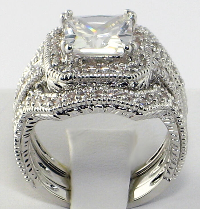 Elite Vintage 4 CT. Princess Cut CZ Bridal Engagement Wedding Ring Set ...