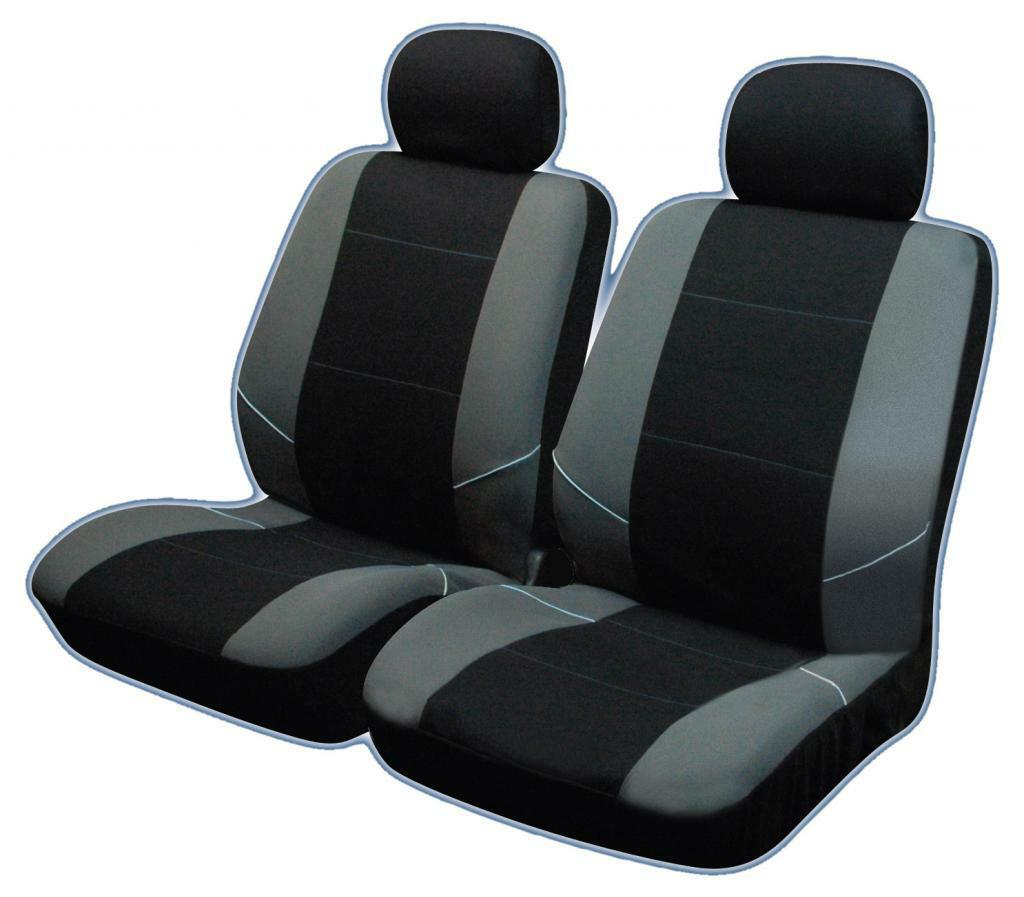 Universal Car Seat : Universal front car seat covers inc headrests black grey