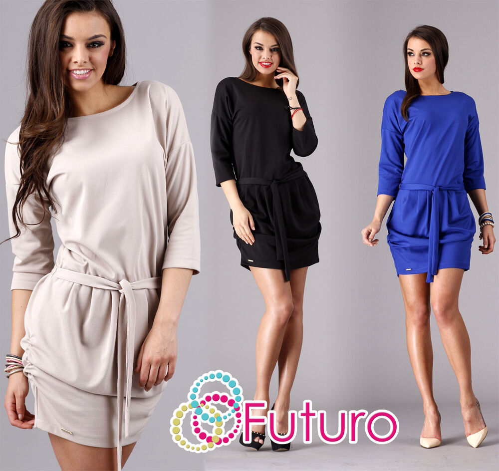 Elegant Women's Dress With Belt Boat Neck 3/4 Sleeve Tunic Sizes 8-16 1 of 1Only 2 available ...