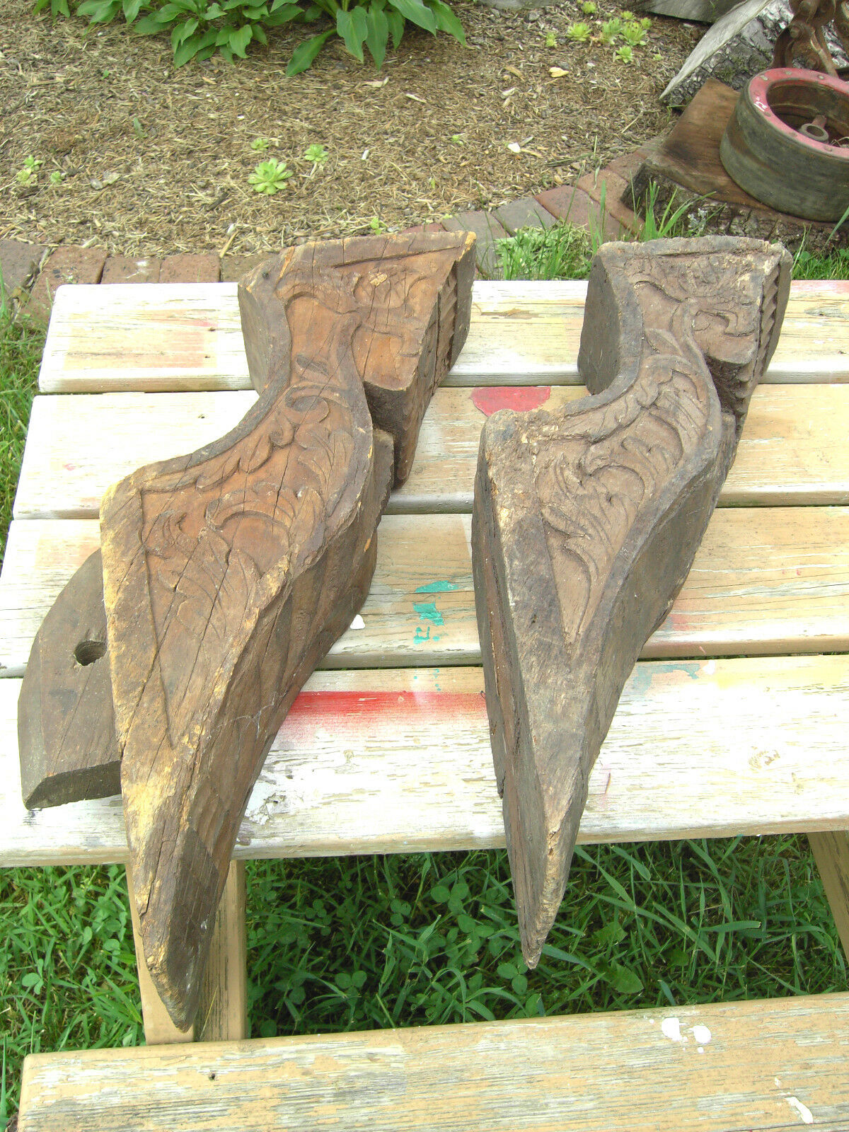 Pair Pacific Island Hand Carved Corbels Antique shrine Home Architectural Salvag