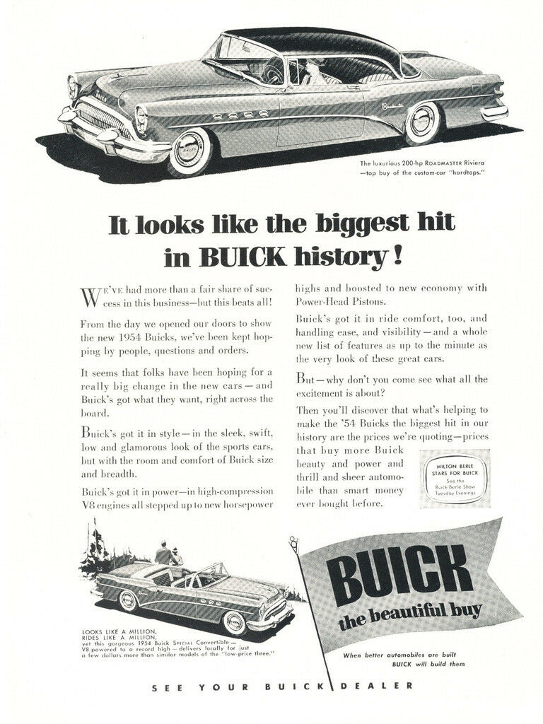 1954 Buick Roadmaster Original Car Advertisement Print Ad J255 Riviera Convertible 1 Of 1only Available