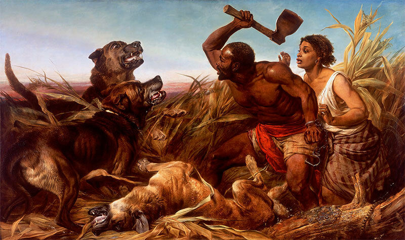 The Hunted Slaves Richard Ansdell Sklaven Beil Hunde Tiere Neger B A3 00132
