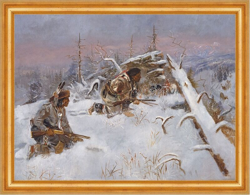 Crow Indians Hunting Elk Charles M. Russell Indianer Winter Jäger B A3 00135