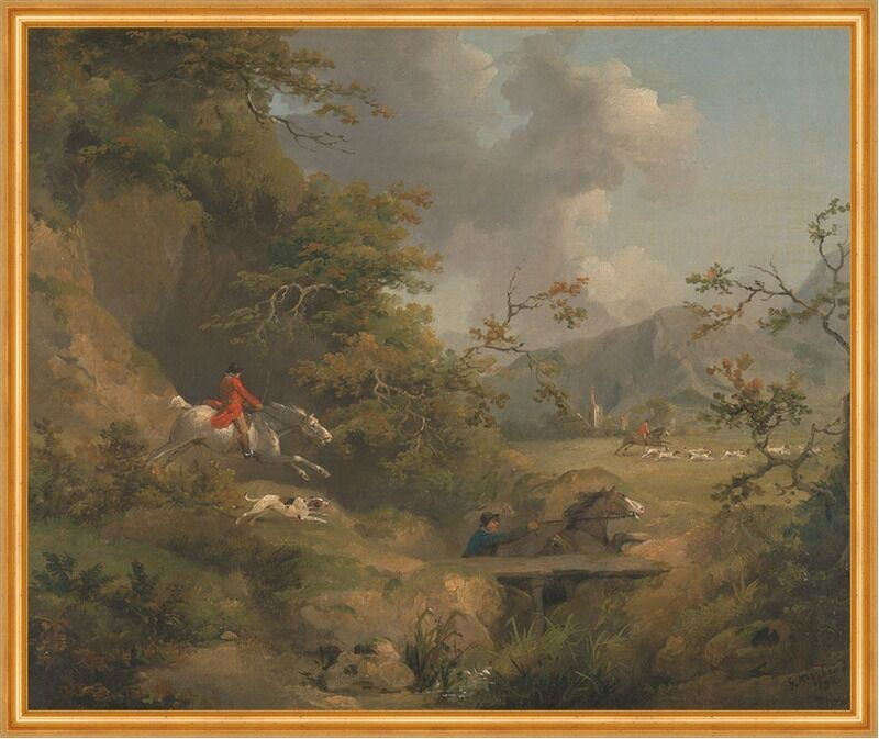 Foxhunting in Hilly Country George Morland Fuchsjagd Pferde Hunde B A1 00146