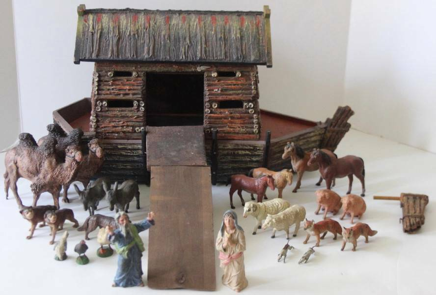 Vintage Elastolin Noah's Ark with Animals RARE HTF FREE SHIPPING!