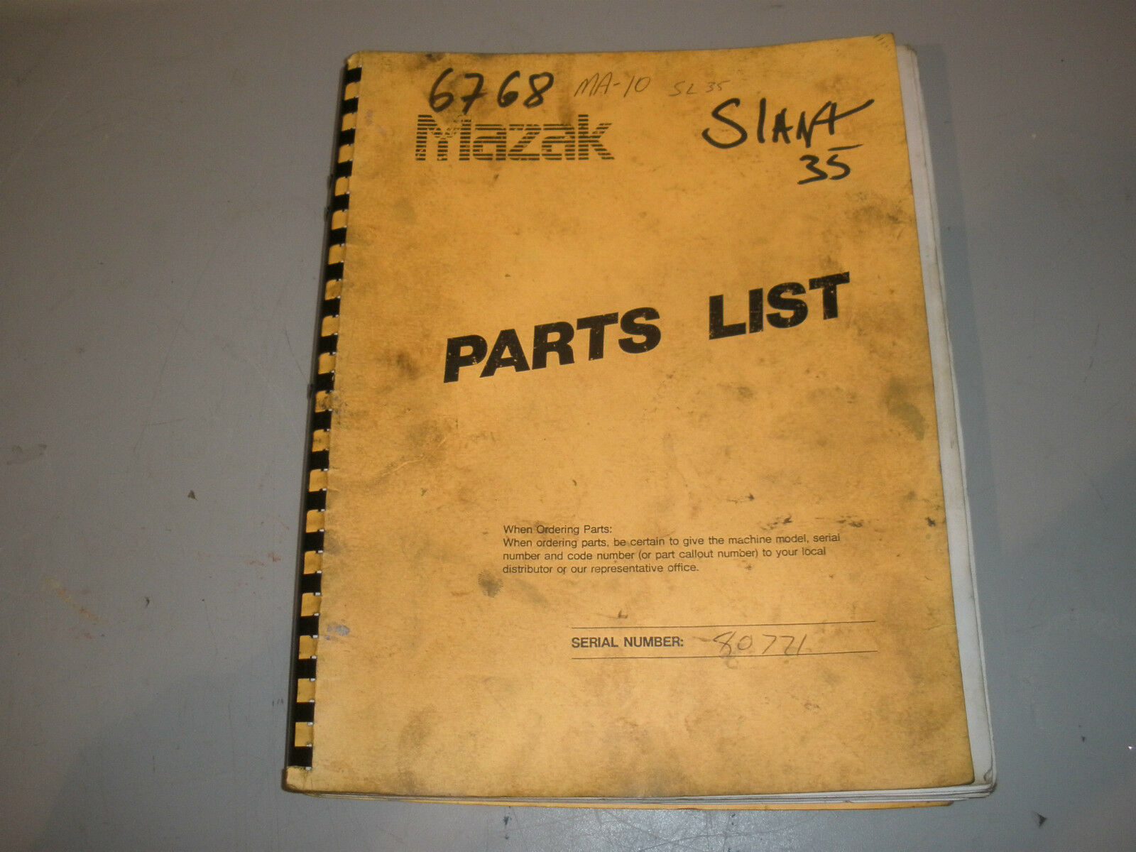 Mazak CNC Lathe Parts Manual For Slant Turn 28, 35 1 of 1Only 1 available  ...
